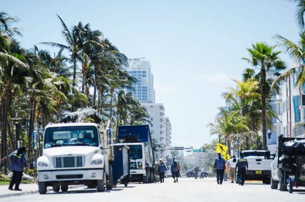 Miami - September 12, 2017: Workers clean up Ocean Drive, the historic Art Deco seafront street in South Beach, after the city was damaged in Hurricane Irma.