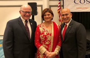 FIU President Mark B. Rosenberg, Fauzia Jaffer and Mohsin Jaffer at the 8th Annual COSMOS Community Appreciation Dinner.