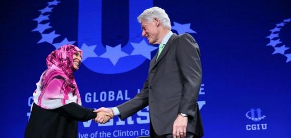 Nobel Peace Prize Laureate Tawakkol Karman with President Bill Clinton. https://www.clintonfoundation.org/blog/2015/03/07/highlights-cgi-university-2015