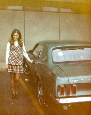 A college friend next to Lunsford's '69 Ford Mustang, circa 1972.