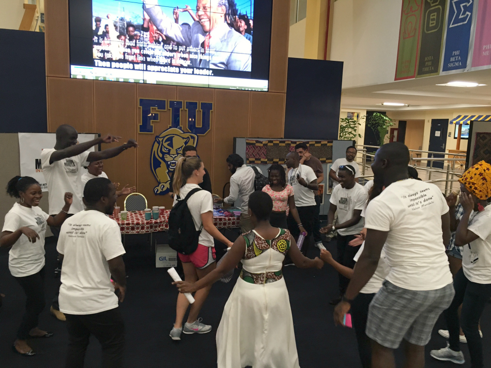 The Mandela Washington Fellows taught FIU students about African styles of dance and music on International Mandela Day, July 18, 2016.