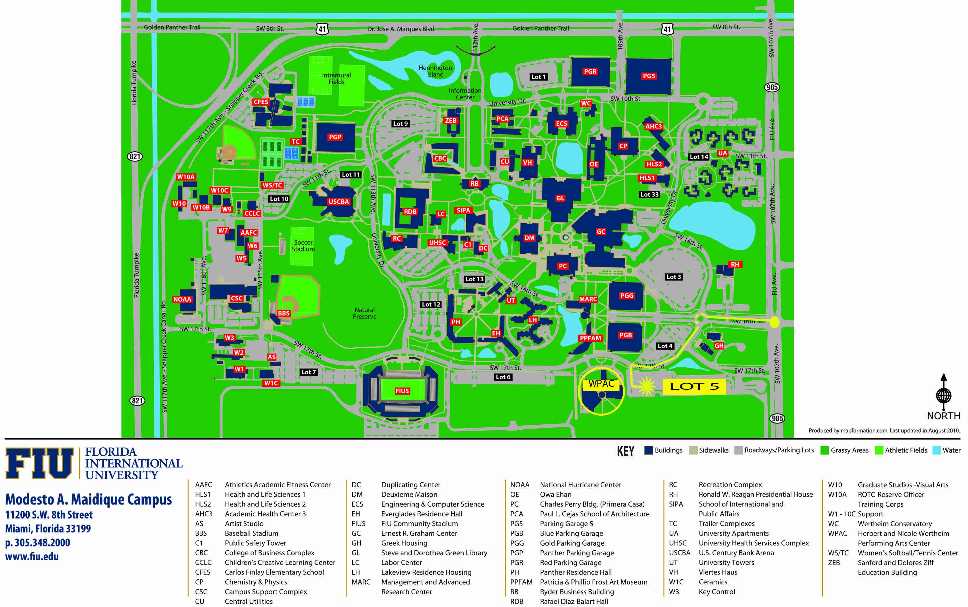 Maidique Campus 2D map