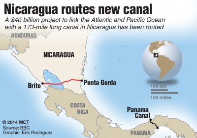 Map locator and description of proposed canal linking the Atlantic and the Pacific across Nicaragua. MCT 2014 (Newscom TagID: krtgfxlive046412.jpg) [Photo via Newscom]