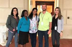 From left to right: Angelique Johnson, Justina Owusu, Priya Krishnakumar, Colby Teeman and Padideh Haddadian