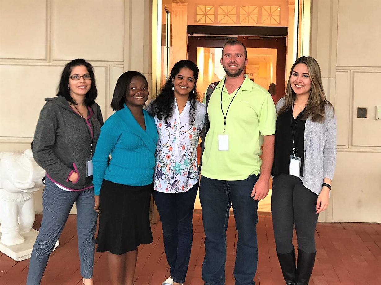 From left to right: Angelique Johnson, Justina Owusu, Priya Krishnakumar, Colby Teeman and Padideh Haddadian received hands-on research experience in exploring their individual genetic makeup to improve preventive actions.