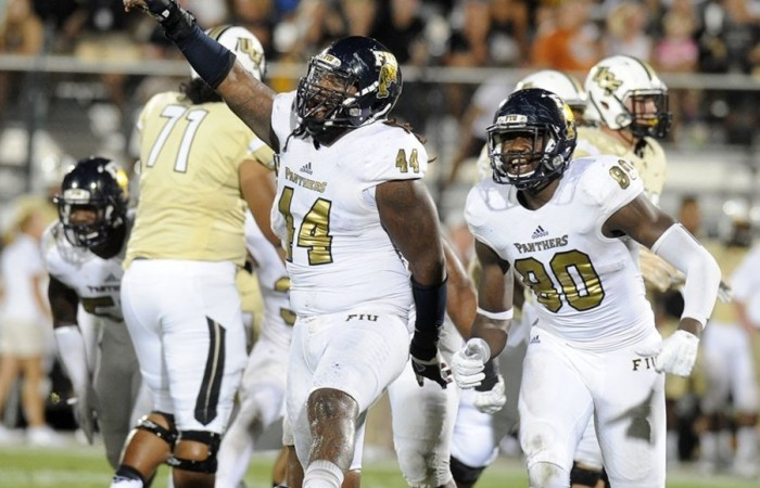 Defensive tackle Darrian Dyson (#14) blocked a field goal in the final moments to help FIU defeat UCF in the 2015 season opener.