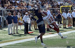 Freshman wide receiver Bryce Singleton (#9) catches a touchdown during FIU's win over UMass on Dec. 2 at Riccardo Silva Stadium. Photo courtesy of FIU Athletics.