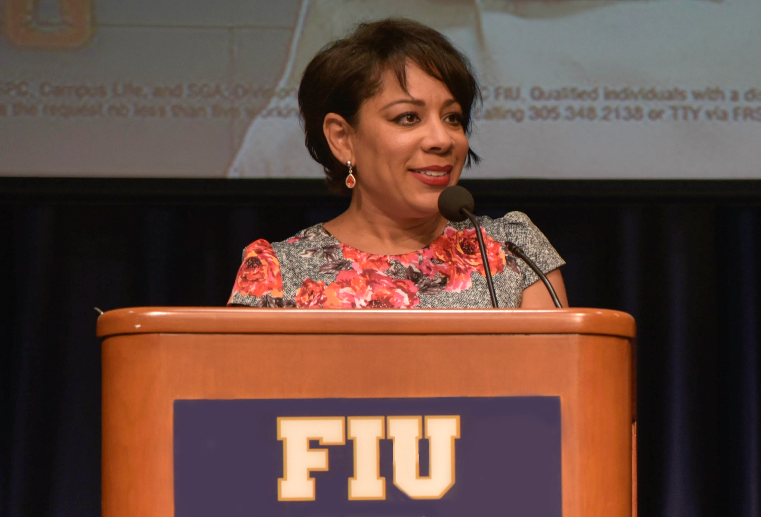 Leyva during her Feb. 22 speech at FIU