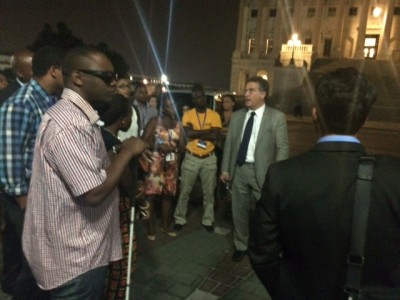Congressman Garcia giving FIU YALI students a tour of the U.S. Capitol at night.