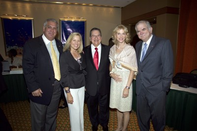 From left to right, Dr. Joe Greer, Janus Greer, Jose Fox, CEO of United HomeCare, Martha Rock and Dr. John Rock, founding dean of the FIU College of Medicine.