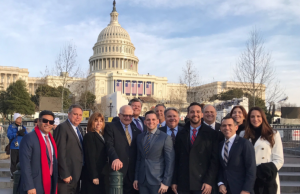 President Rosenberg with FIU Trustees Claudia Puig, Jorge Arrizurieta and Alian Collazo join Doral Mayor Juan Carlos Bermudez and other FIU in front of the U.S. Capitol Building the day before the inauguration.